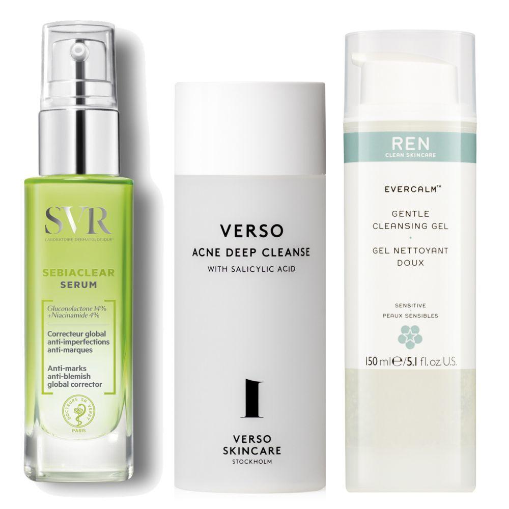 Sébiaclear Sérum, SVR (20,90 euros), Acne Deep Cleanse, Verso Skin Care (40 euros), Evercalm Gentle Cleansing Gel, REN (20 euros).