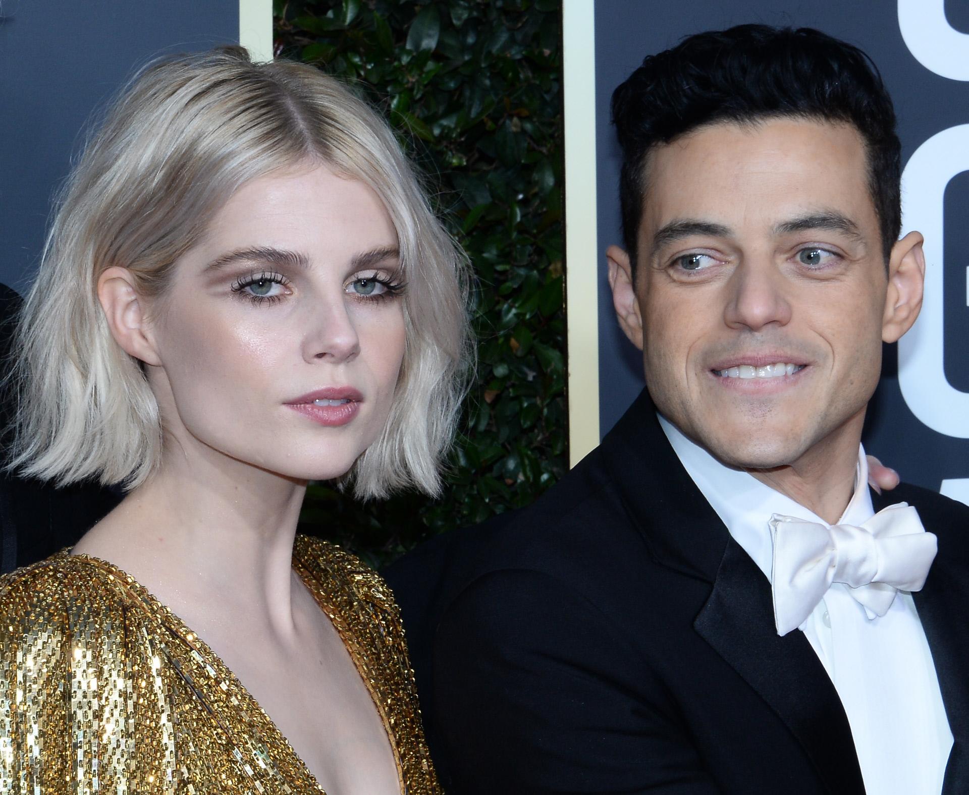Lucy Boynton y Rami Malek en los Globos de Oro 2019.