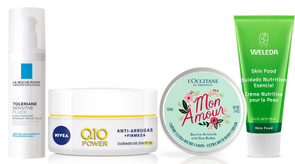 Crema Toleriane Sensitive Fluide, La Roche Posay (20 euros); Nivea Q10...