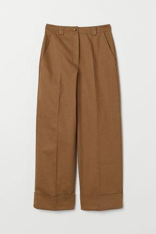 Pantalón amplio de sarga