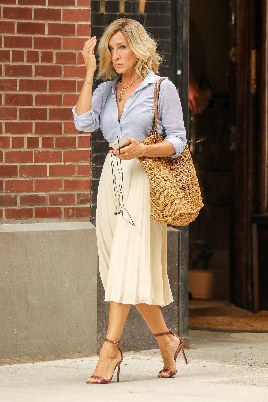 Sarah Jessica Parker con sandalias de al menos diez centímetros.