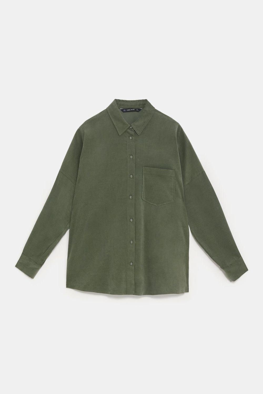 Camisa militar de micro pana de Zara