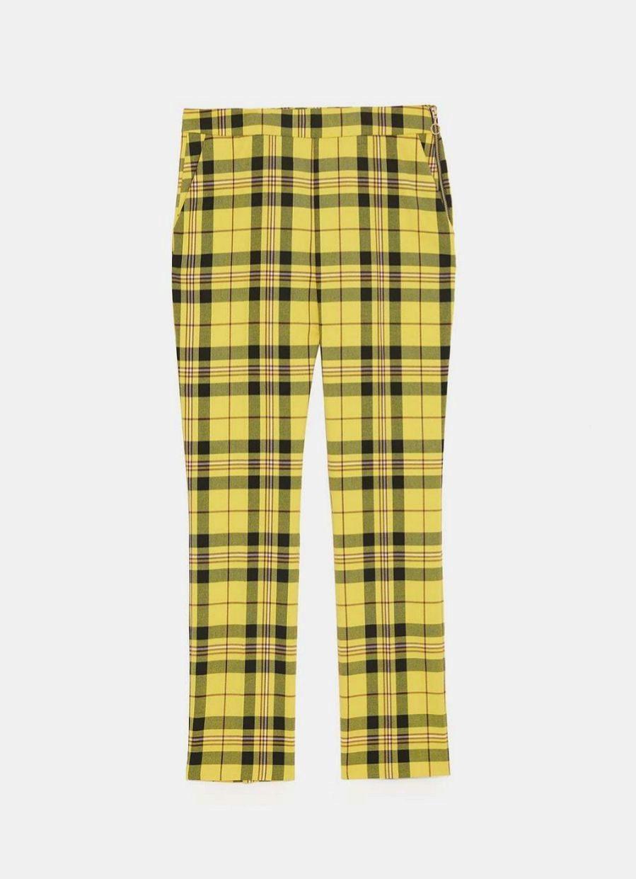 Pantalón recto de cuadros amarillo