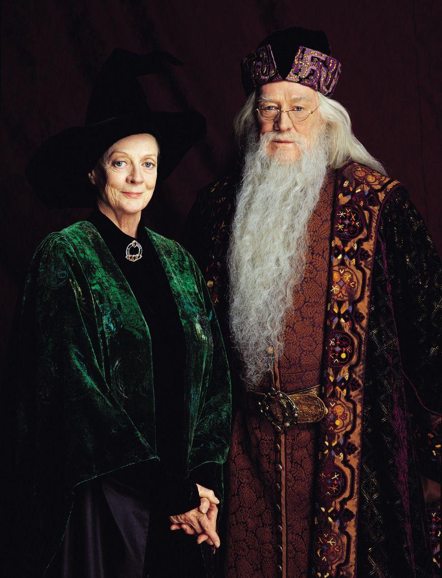 Los profesores McGonagall y Dumbledore, de las películas de Harry Potter.