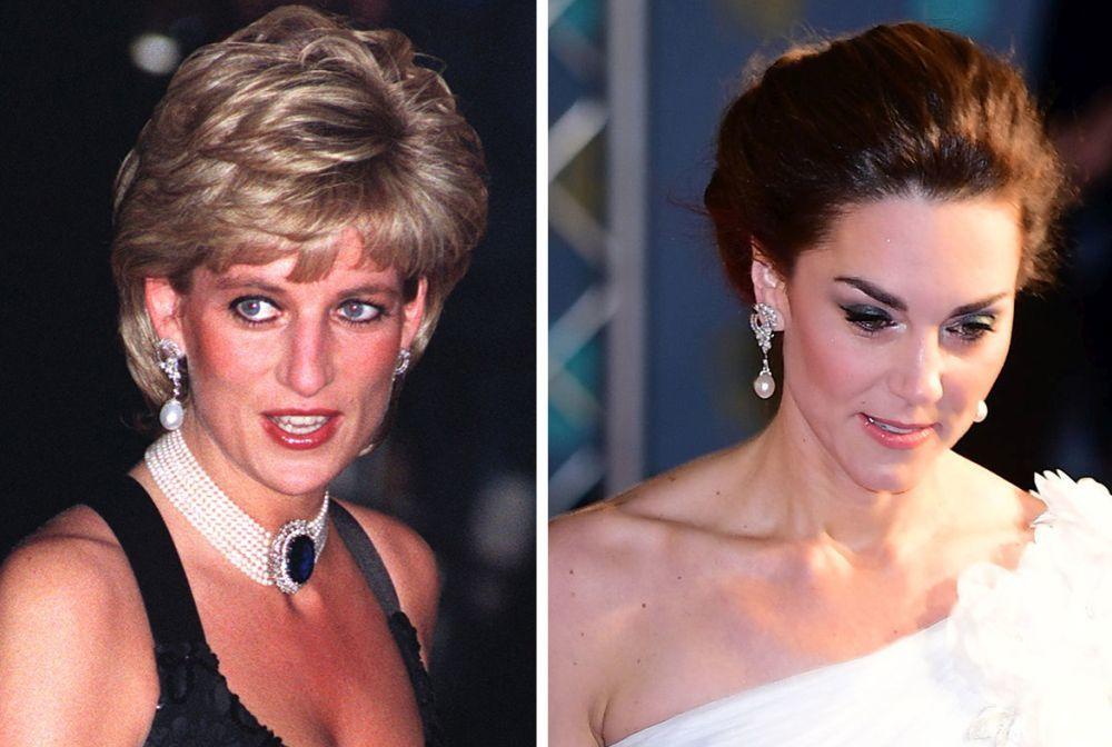 Diana de Gales y Kate Middleton con los mismo pendientes.