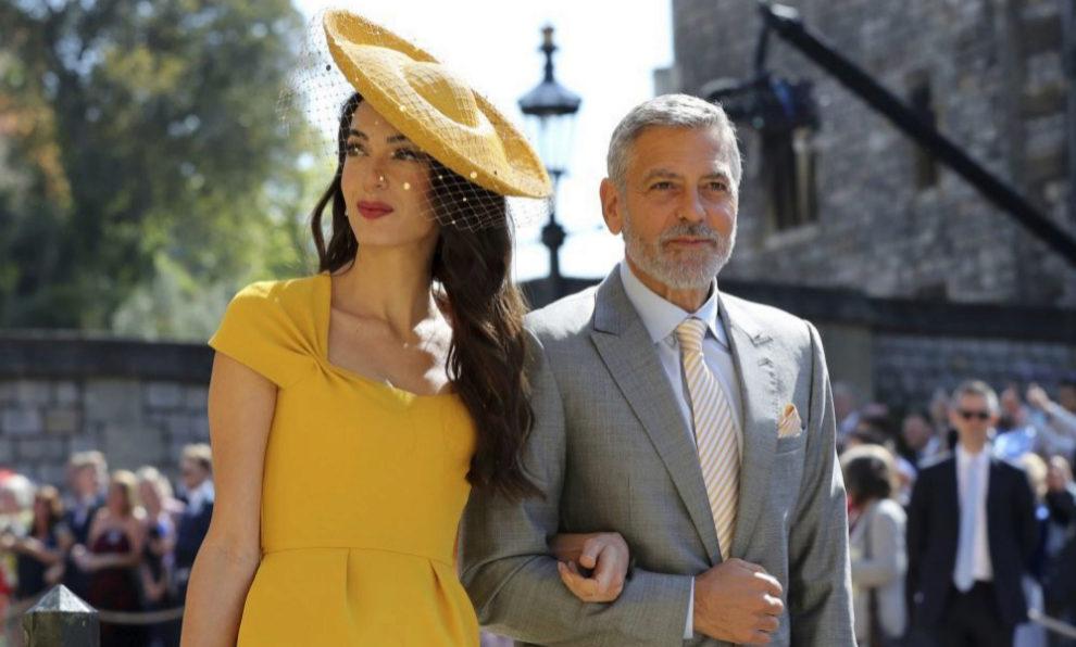 George y Amal Clooney en la boda de Meghan Markle y el príncipe...