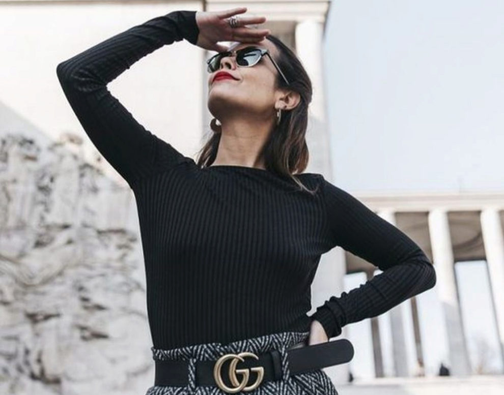 Sara Escudero con cinturón de Gucci