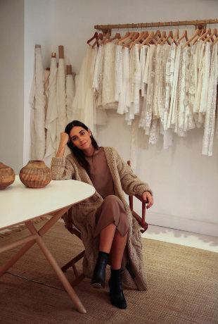 Claudia Llagostera, la diseñadora de vestidos de novia, en su estudio...