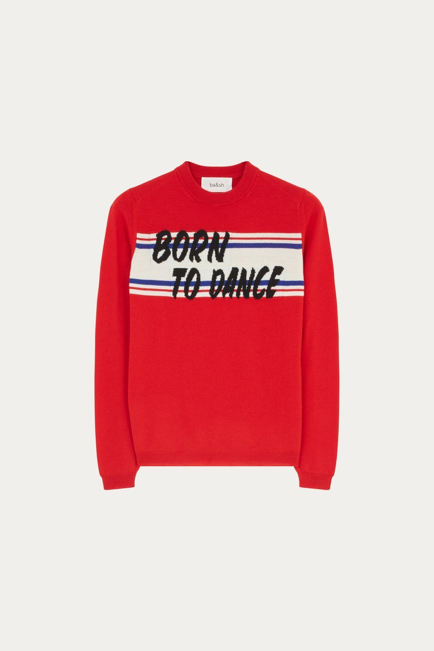 """Jersey en rojo con mensaje """"Born to dance"""" (""""Nacida para bailar""""), de..."""