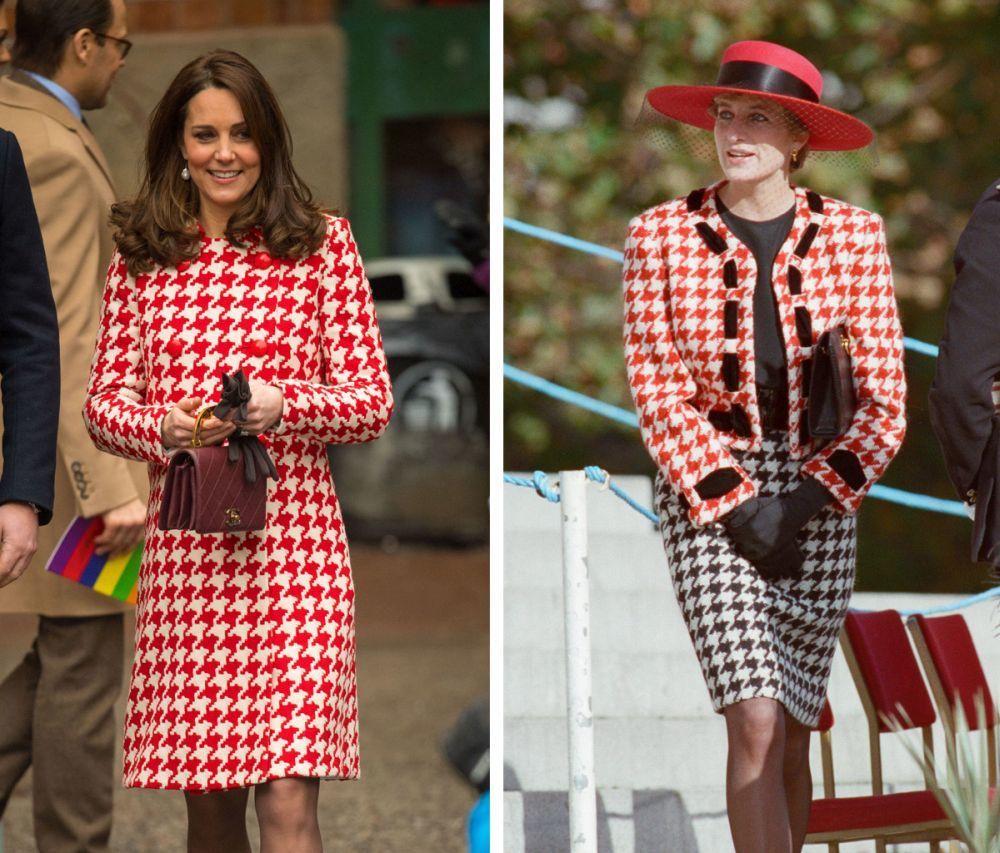 Kate Middleton y Lady Di, asiduas al estampado de pata de gallo.