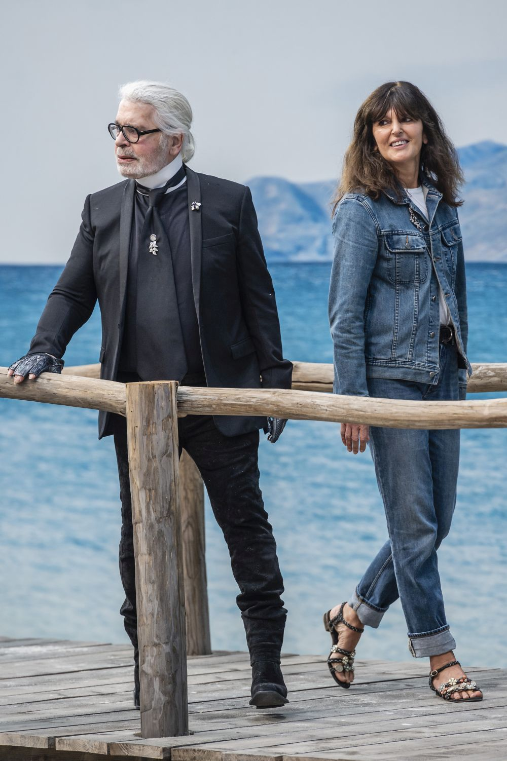 Karl Lagerfeld junto a Virginie Viard.