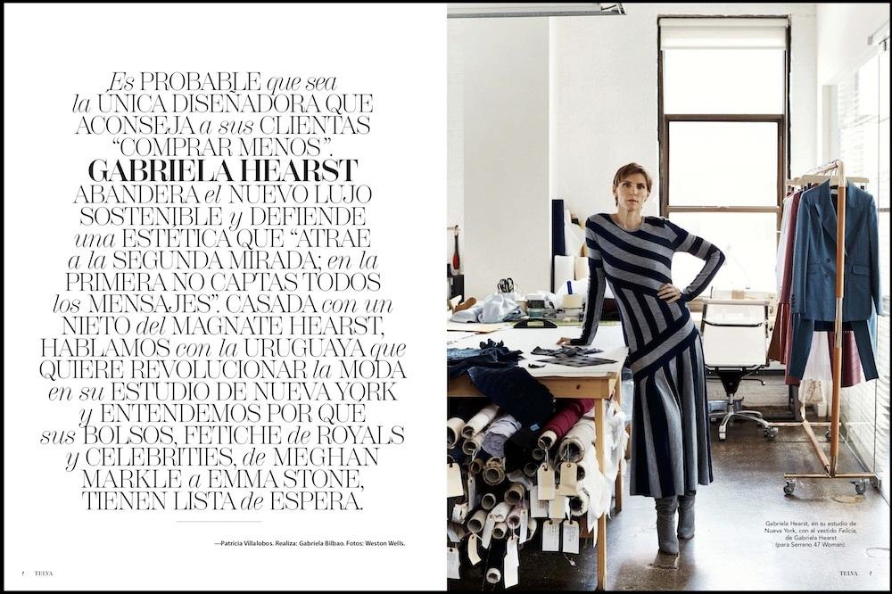 Entrevista a la diseñadora  Gabriela Hearts en el núemro de Telva...