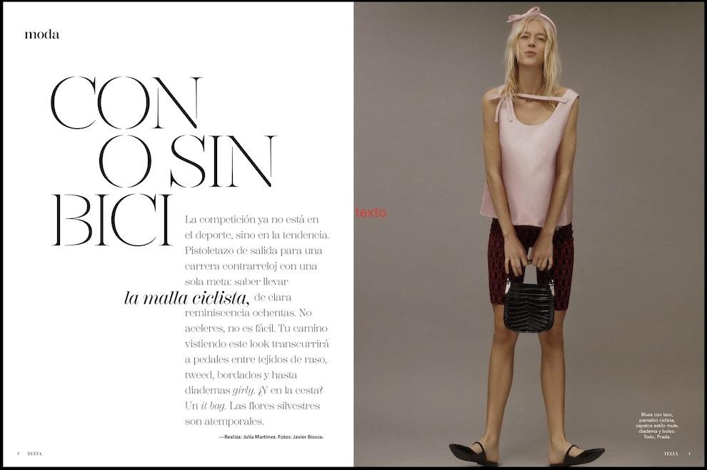 El pantalón ciclista es el protagonista de uno de los editoriales de moda de TELVA marzo.