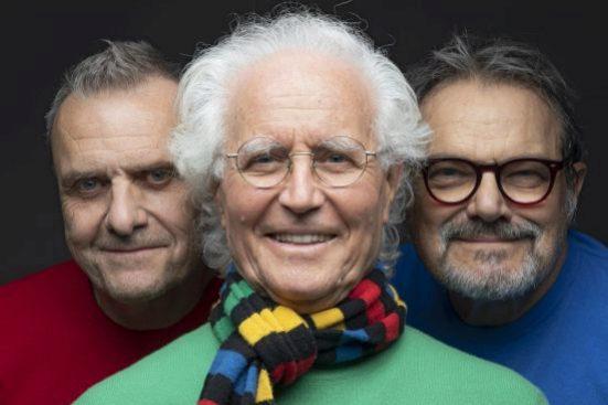 Jean-Charles de Castelbajac, Luciano Benetton y Oliviero Toscani.