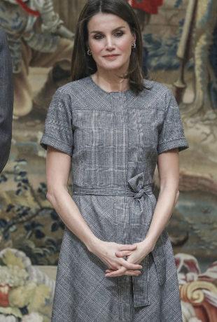 Doña Letizia con un vestido de Massimo Dutti.