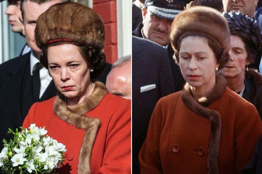 Colman en un fotograma de The Crown, igualita que la reina Isabel
