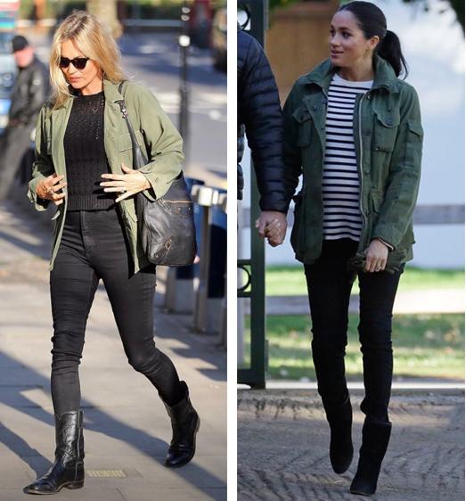 Kate Moss y Meghan Marke apuestan por la chaqueta militar.