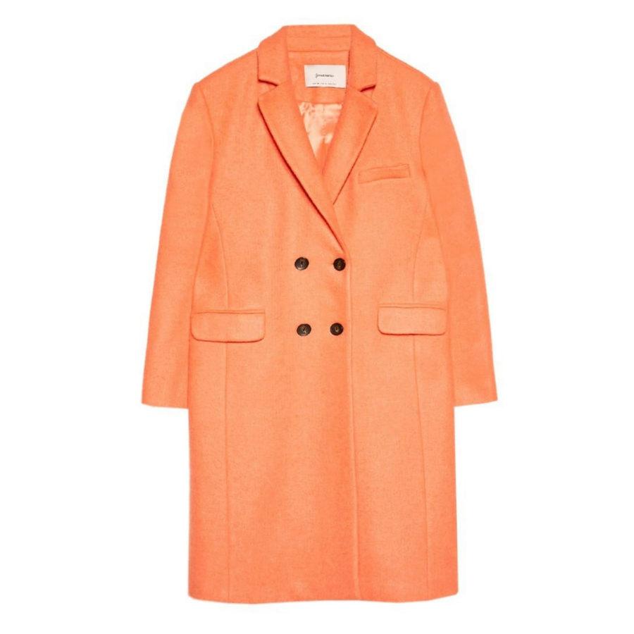 Abrigo naranja con doble botonadura de Stradivarius