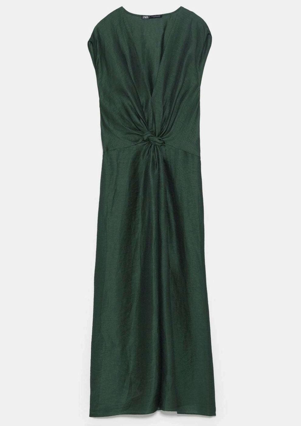 Vestido verde botella con nudo de Zara
