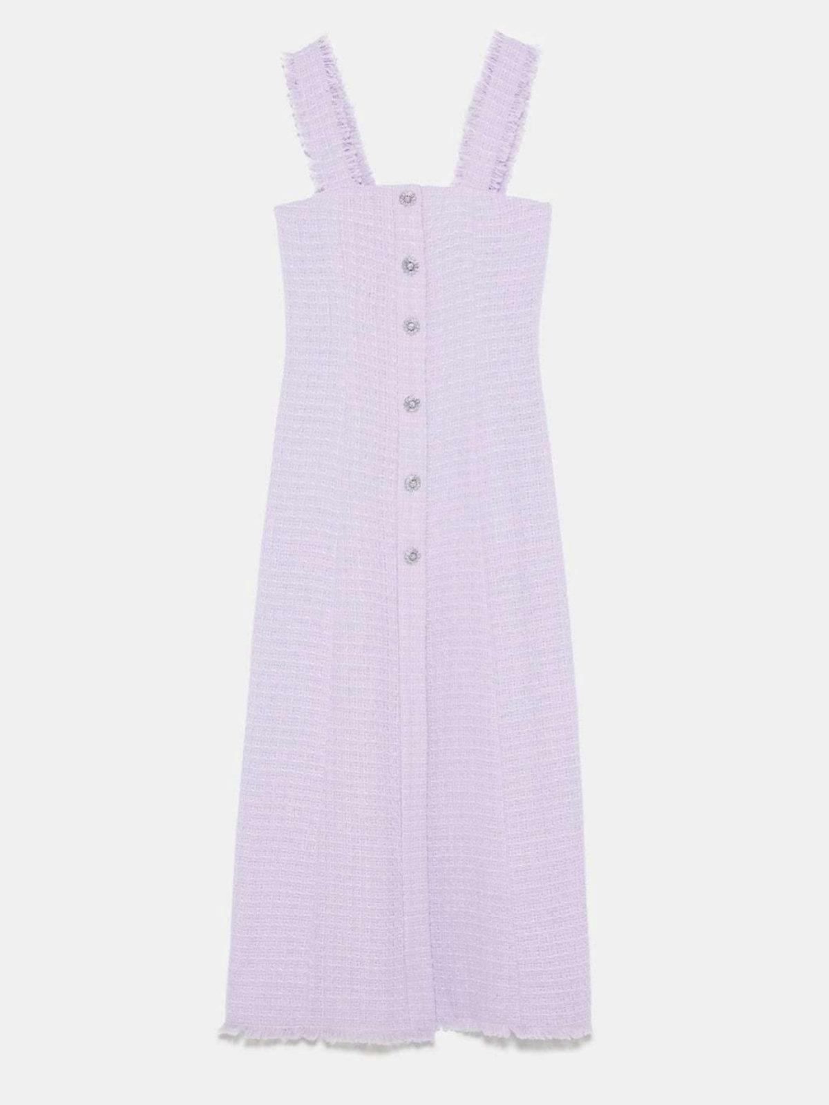 Vestido violeta en tweed de Zara