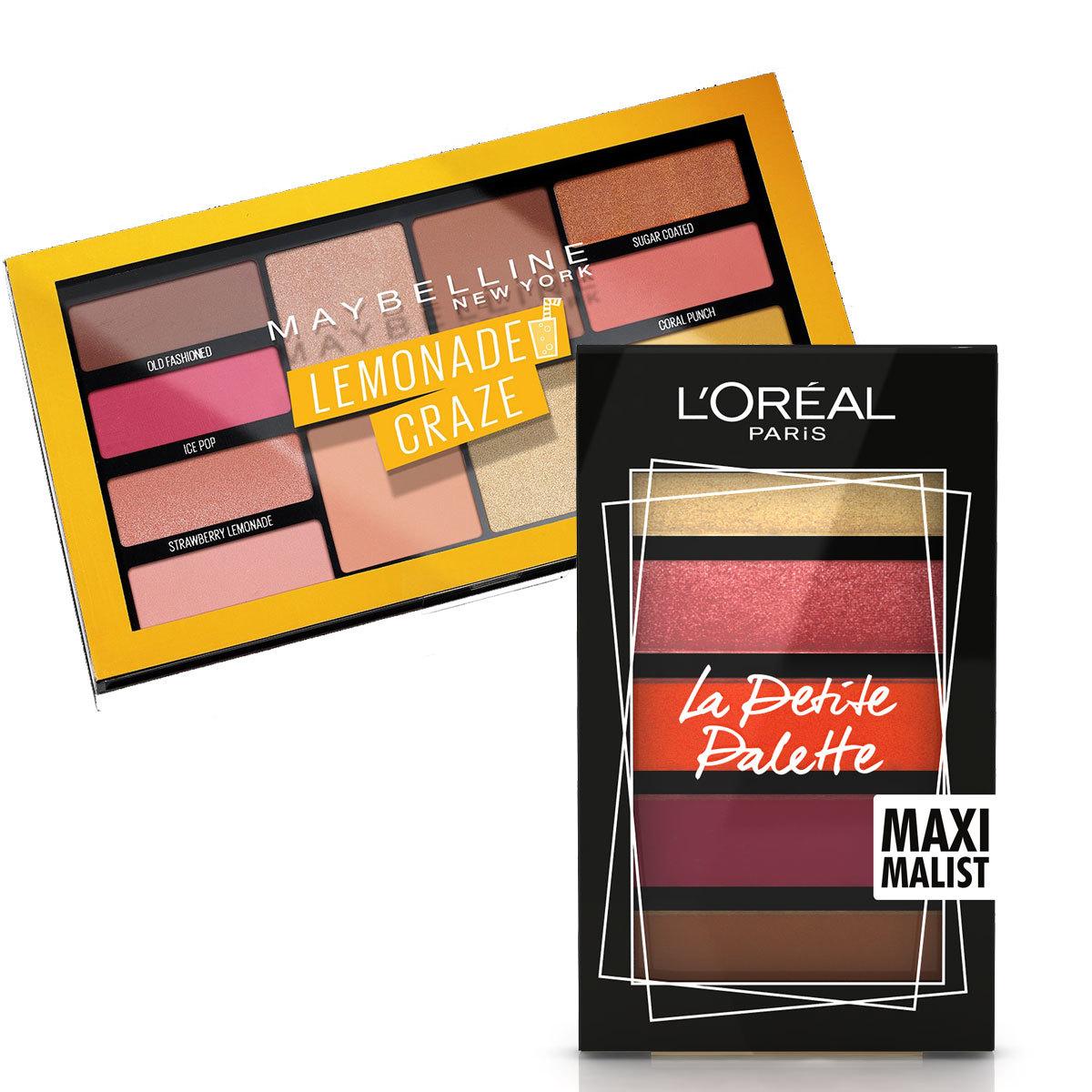 Paleta de sombras Lemonade Crazy, Maybelline (14,99 euros); La Petite Palette, L'Oréal Paris (12,95 euros).