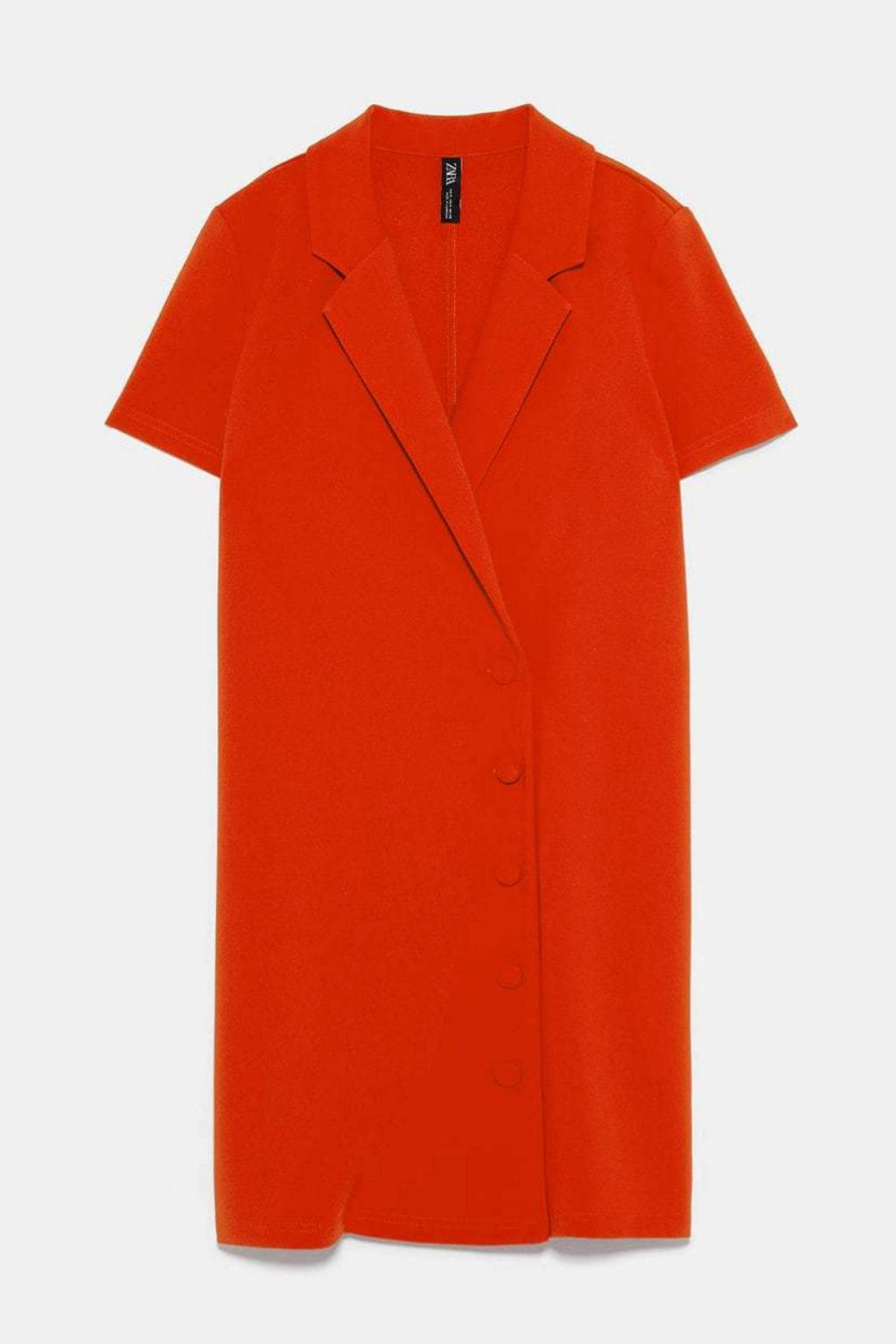 Vestido cruzado en rojo de Zara