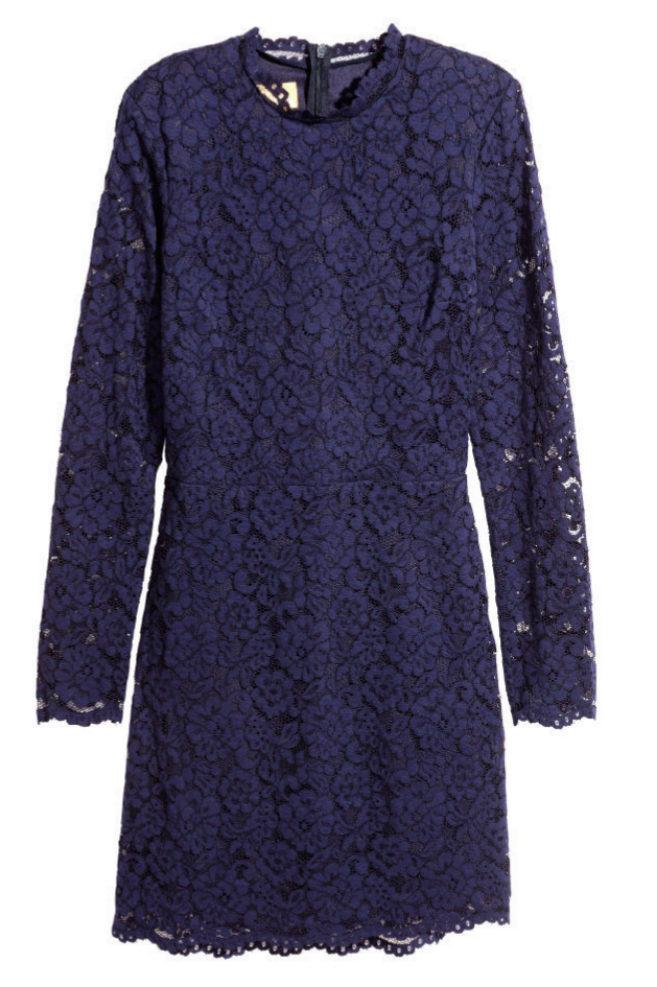 Vestido de encaje en color morado de H&M