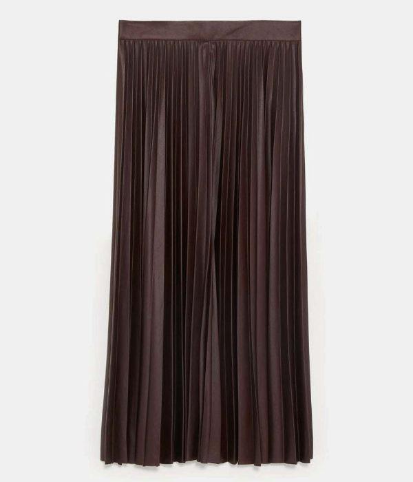 Falda plisada de corte midi de Zara