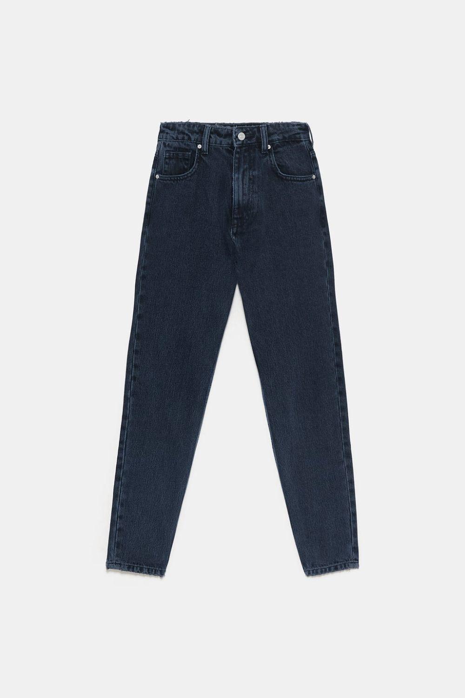 Pantalón oscuro mom fit de Zara