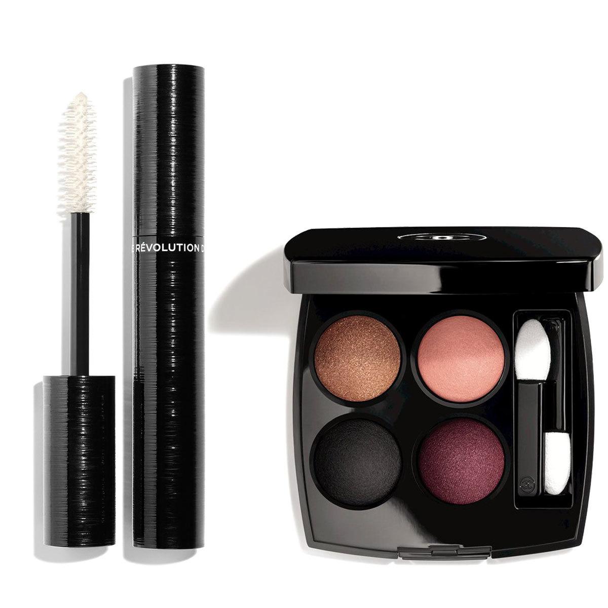 Máscara de pestañas Revolution Noir y paleta de sombras Mystere et Intensite, de Chanel.