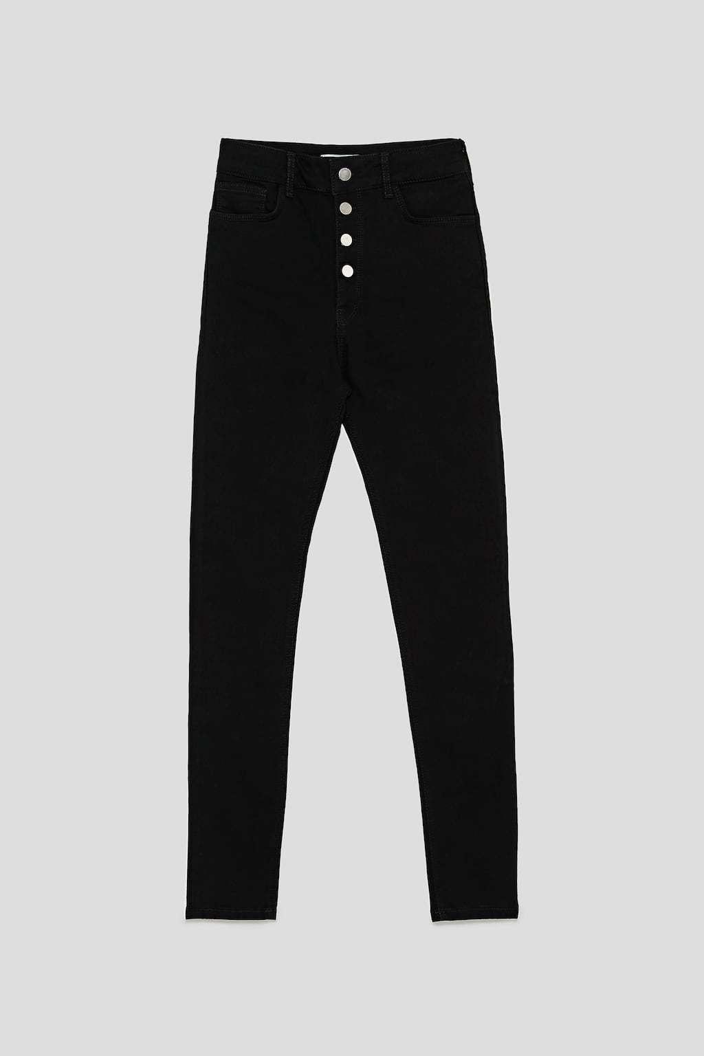 Vaquero negro de cintura alta de Zara