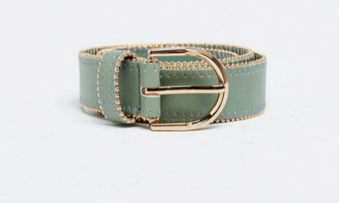 Cinturón en verde menta con detalles en dorado de Sfera