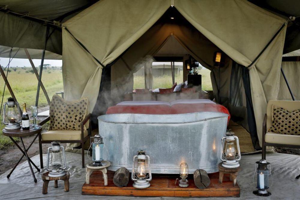 Las tiendas de los campamentos, aunque  de tela, son de lujo y completamente sostenibles.