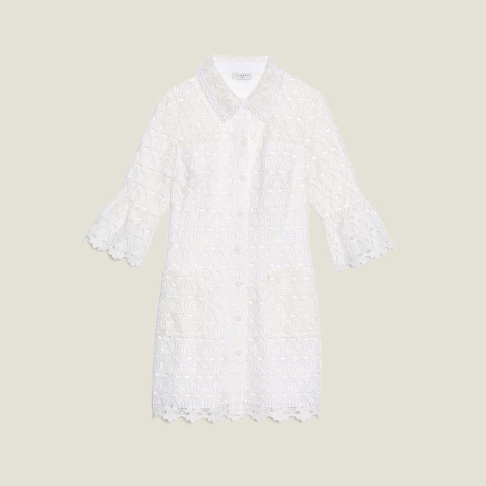 Vestido blabnco de encaje de Sandro