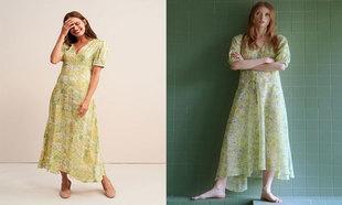 Vestido de Rouje (185 euros). Vestido de Mango (49,99 euros).