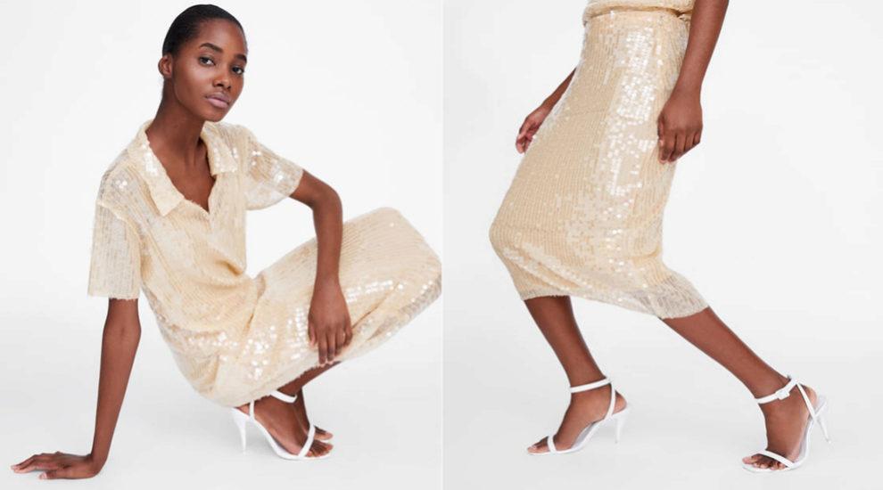 Falda nude de lentejulas de Zara