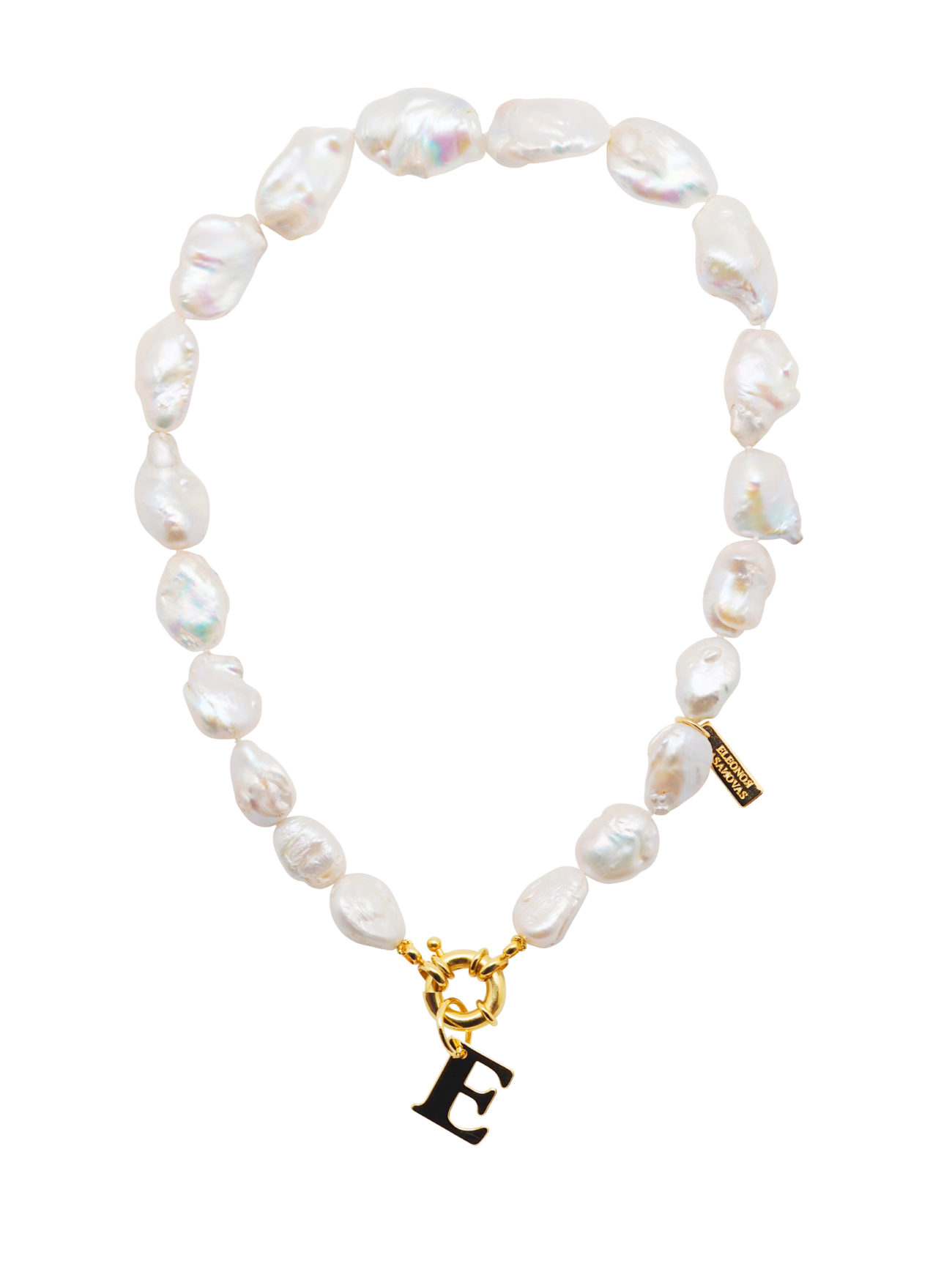 Collar Crazy about Pearls de perla barroca natural con inicial y...