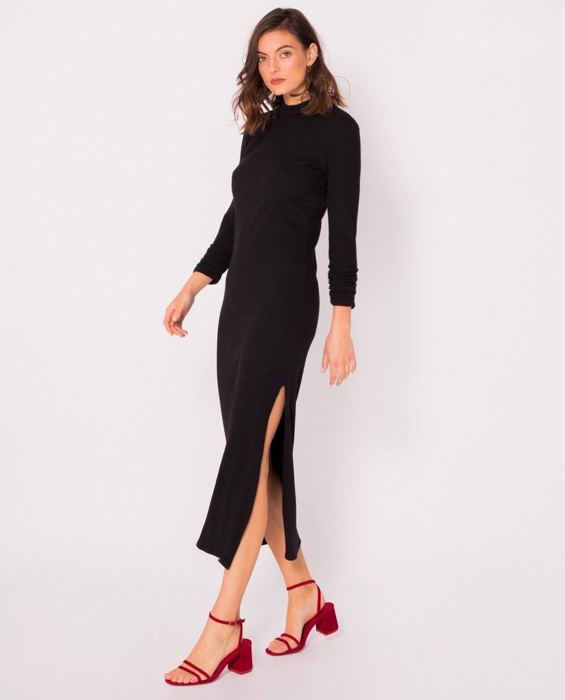 Vestido negro de canalé de Slow Life