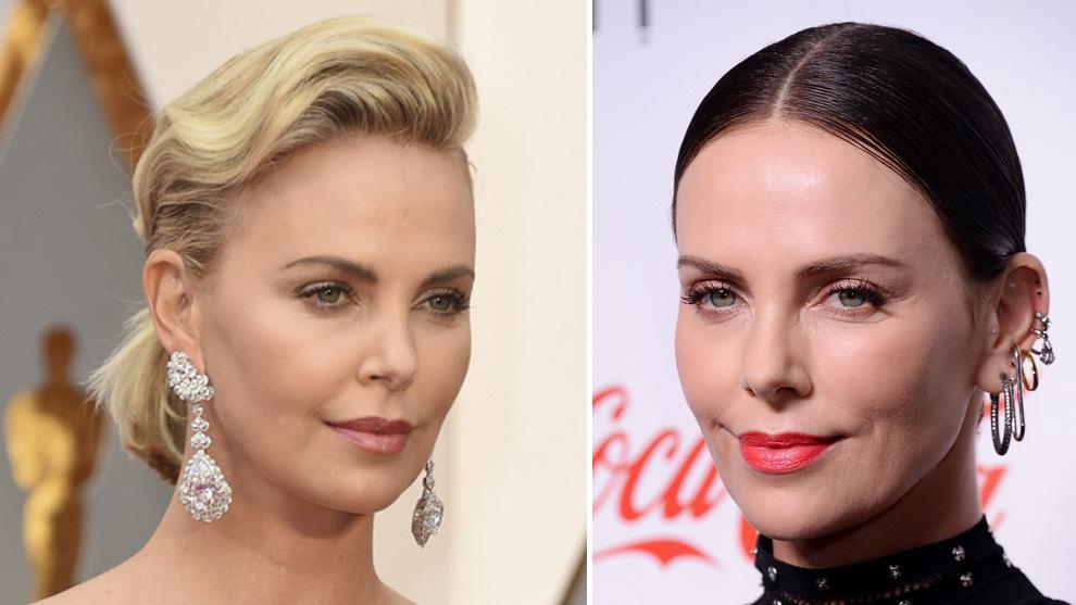 A la izquierda, Charlize Theron en los Premios Oscar 2017 y a la...