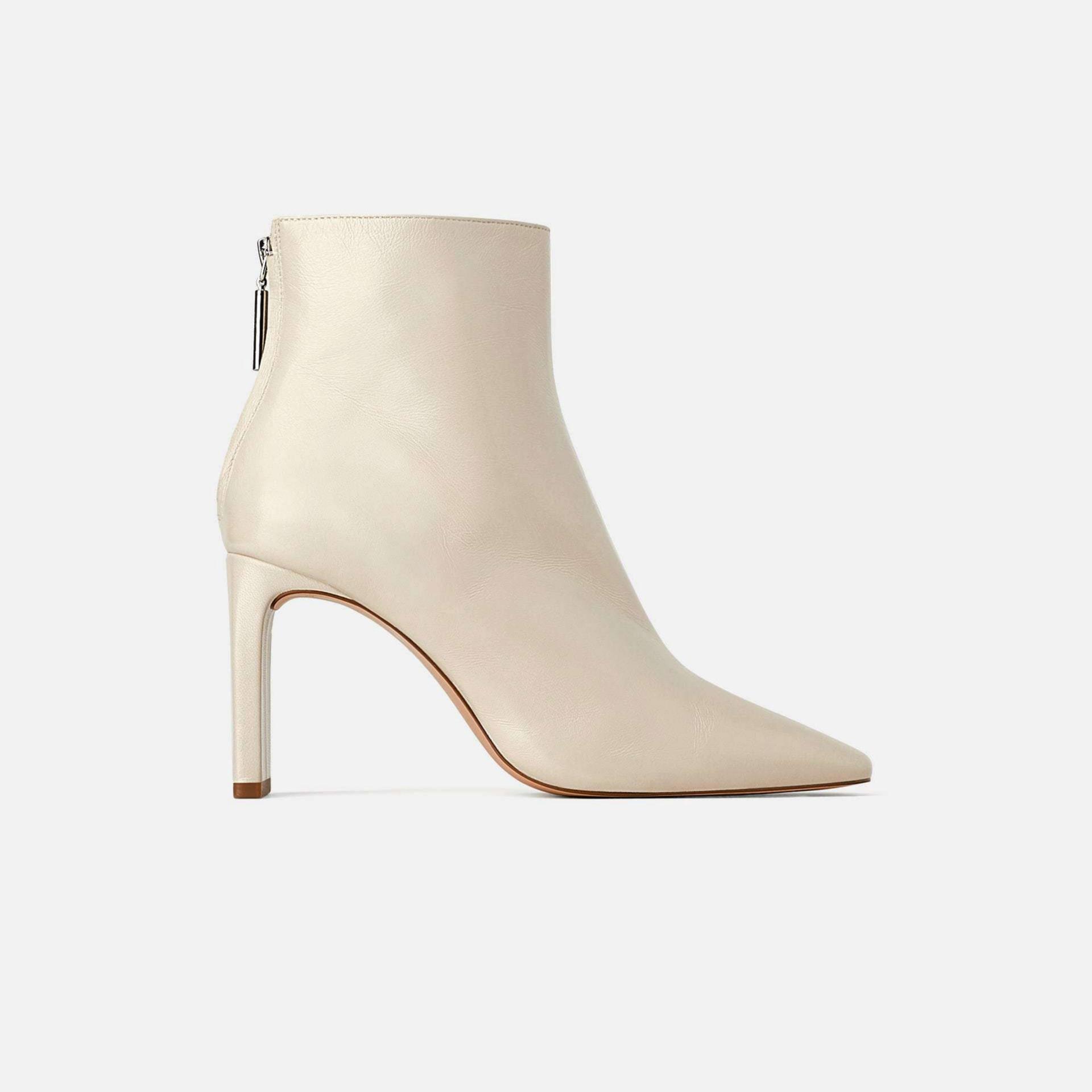 Botines blancos de piel de Zara (59,95)