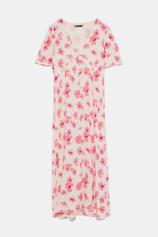 Vestido largo de estampado floral de Zara