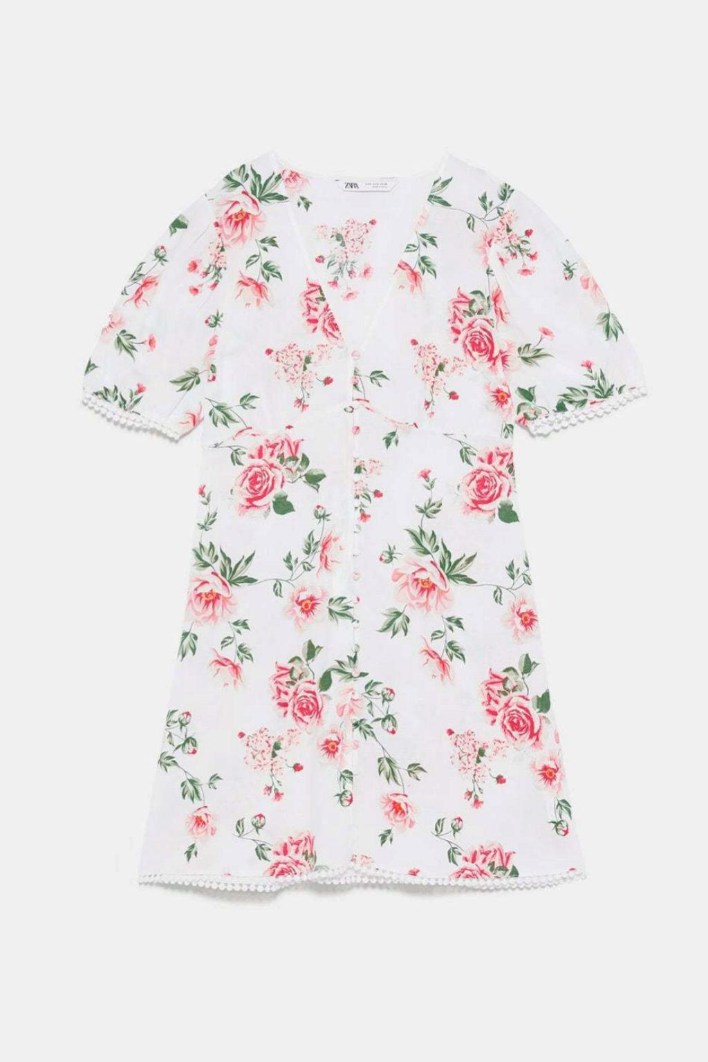 Minivestido romántico de flores de Zara