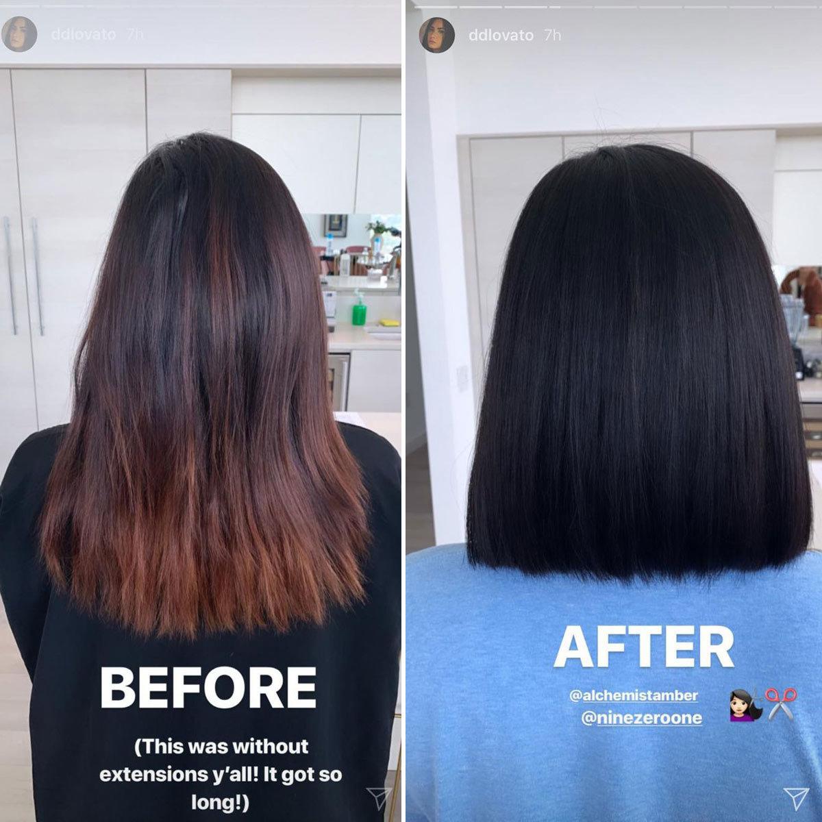 Al antes y el después del corte de pelo de Demi Lovato.