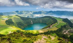 Vista aérea de la Isla de Azores.