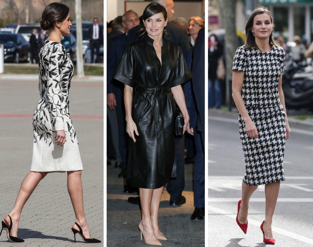 La reina Letizia con salones de Carolina Herrera en color negro,...