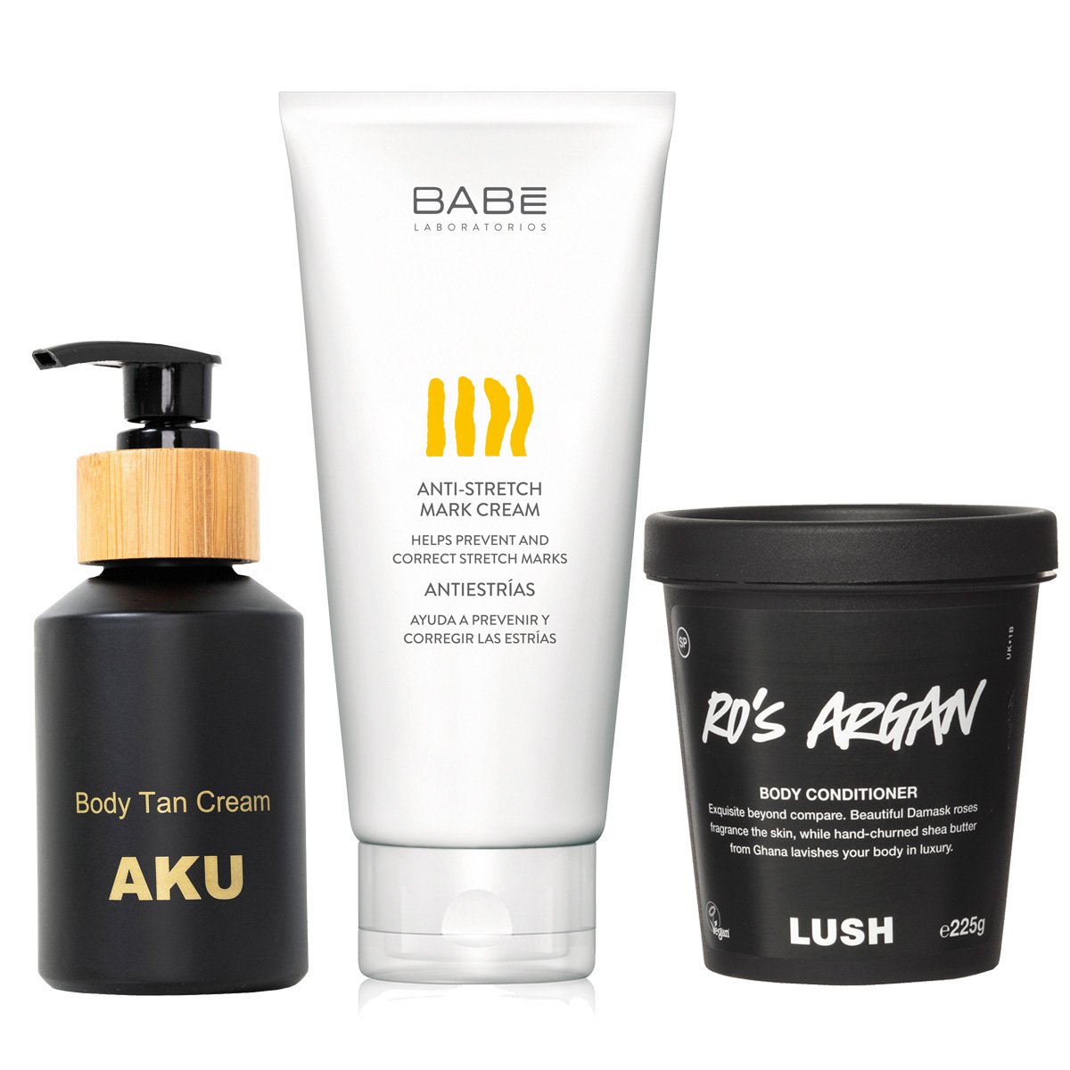 Body Tan Cream (38 euros); gel antiestrías de Babé (19,50 euros);...