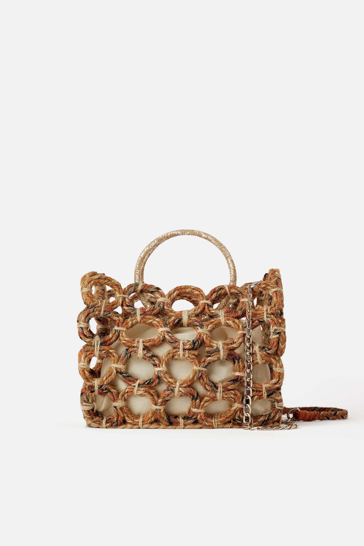 Bolso shopper trenzado, Zara (39,95 euros).