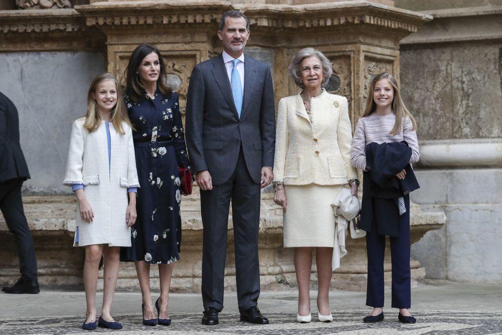 La familia real en la misa de Pascua 2019.