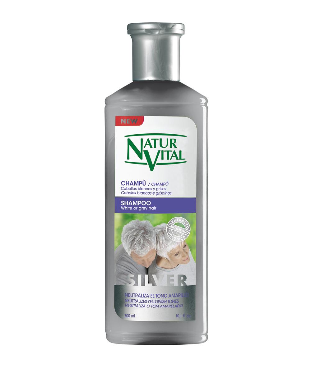 Champú Silver de Naturvital para cabellos grises o con canas.
