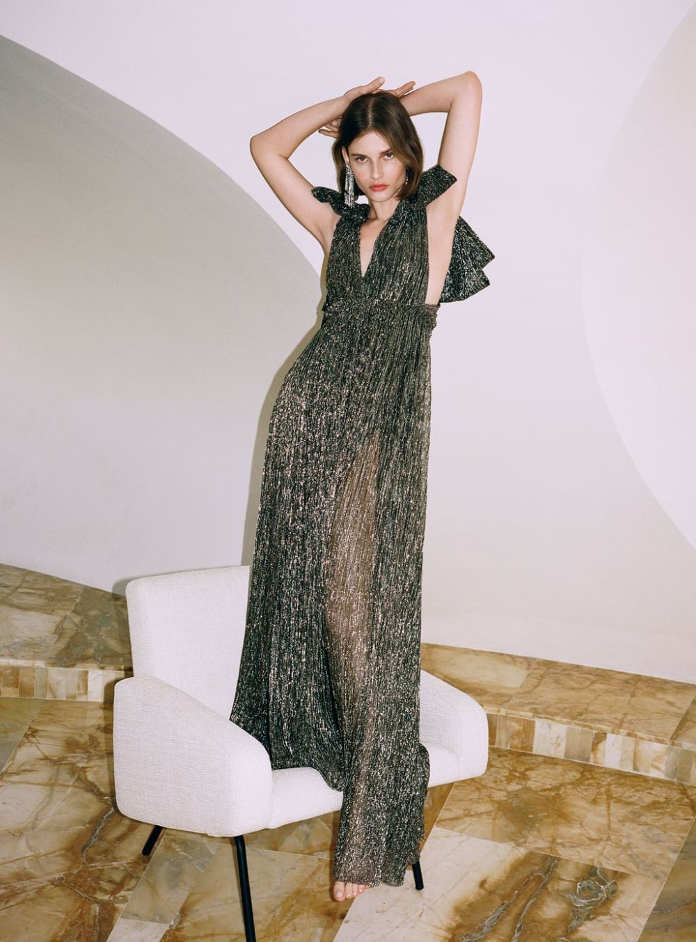 Vestido metalizado de Zara